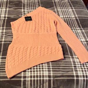 NWT Peach Jaslyn One Shoulder Sweater